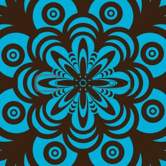 A blue, orange, brown, black, yellow and red fractal pattern