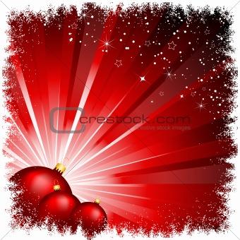 christmas baubles on starburst
