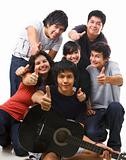 Group of multi ethnic teenagers posing together