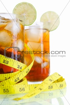 Close up of diet soft drinks