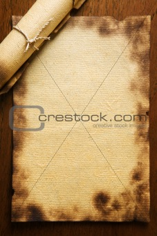 Old blank paper on wooden table