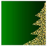 golden christmas tree on green background