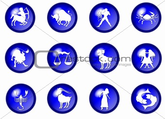 12 blue zodiac web buttons