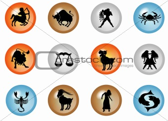 12 colorful zodiac web buttons