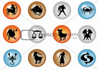 12 colorful zodiac web buttons