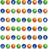 orange blue and green button icons