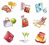 Vector cartoon style icon set. Part 13. Traveling