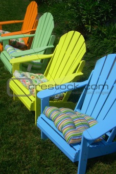 bright adirondack chairs
