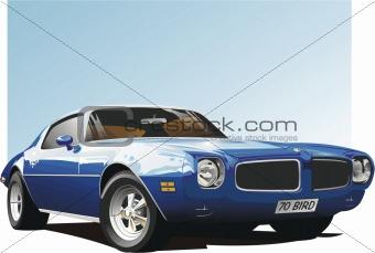 Blue classic American muscle car