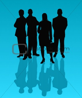 Business team - vector silhouettes