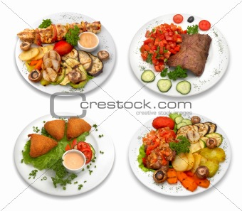 4 dishes of food. isolated on white.