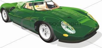 Green european classic sports car
