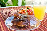 Jerk Chicken with Vegetables, Rice and Lemonade