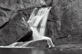 Waterfall Over Stone in B&W