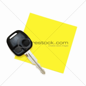 Post-It Note with Key (isolated on white)