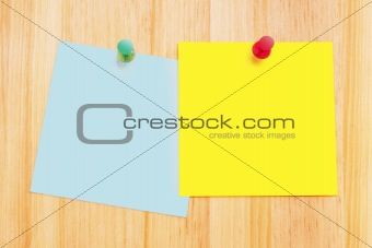 Post-It Notes on Wood Background