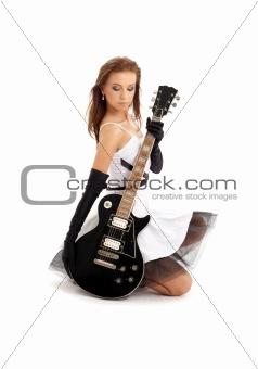 lovely girl with black guitar