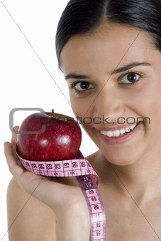 girl, apple and measuring tape