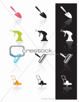 Garden Tools Icon Set 1 (vector)