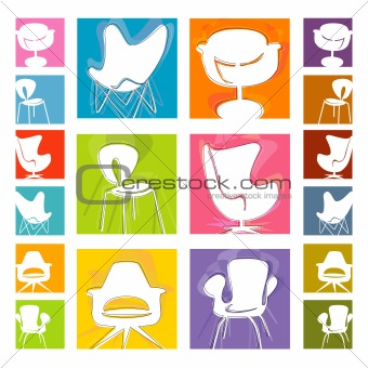 Mod Chair icons (Vector)