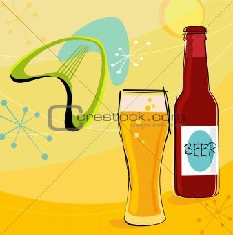 Retro Beer Motif (Vector)