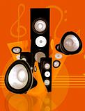 music and sound abstract illustration in orange