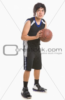 Basketball player is about to throw the ball