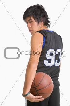Basketball player pose from backside