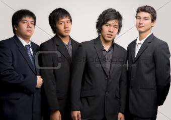 Group of young man in black suit