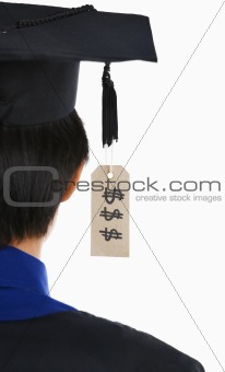 Backside of graduated student with expensive tag