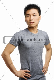 Fitness Asian young man looking away