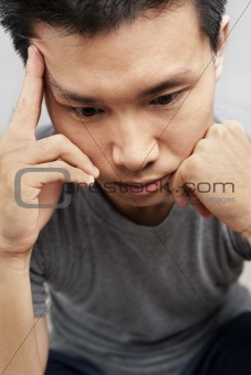 Asian man in depression