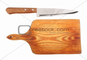 Knife and a cutting board.
