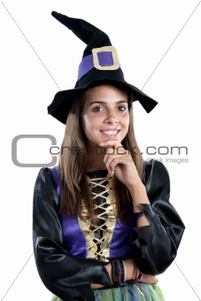 Thoughtful girl dressed in witch