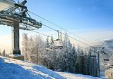 winter morning and ski lift