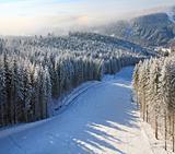Misty winter mountain landscape