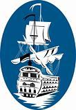 Historical sailing ship