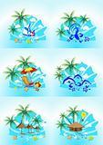 vector image of tropical images with the sea surf, palm trees an