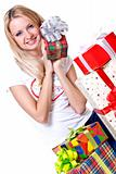 beautiful woman with holiday gift