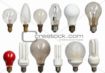 old and modern bulbs
