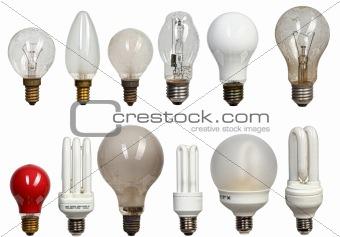 old and modern bulbs