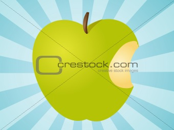 Apple with bite  illustration