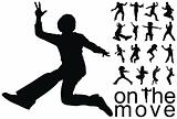 high quality traced on the move people silhouettes vector illustration