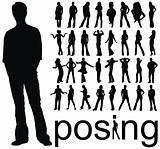 high quality traced posing people silhouettes vector illustration