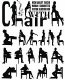 woman sexy silhouettes with chair vector illustration