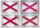 four metal Flags of alabama