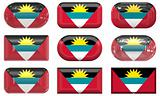 nine glass buttons of the Flag of antigua barbuda
