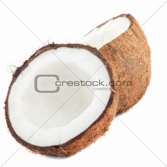 Fresh coconut on white