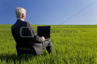 Blue Sky Thinking Businessman Using Laptop Computer in Green Fie