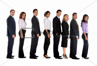 Business people lined up